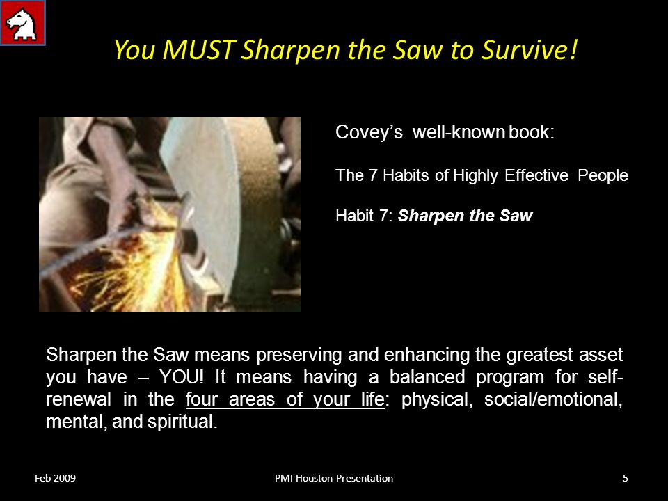 You MUST Sharpen the Saw to Survive.