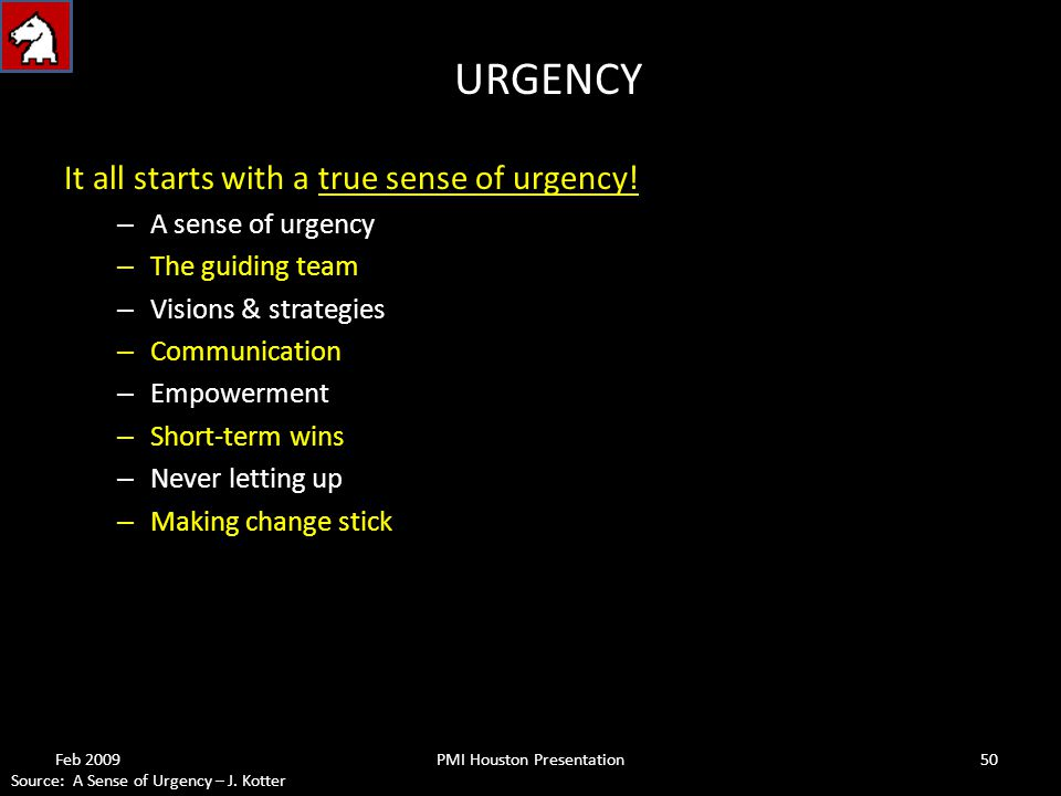 URGENCY It all starts with a true sense of urgency.