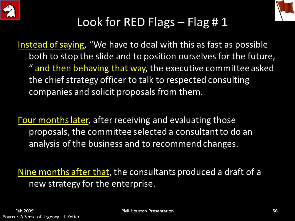 Look for RED Flags – Flag # 1 Instead of saying, We have to deal with this as fast as possible both to stop the slide and to position ourselves for the future, and then behaving that way, the executive committee asked the chief strategy officer to talk to respected consulting companies and solicit proposals from them.