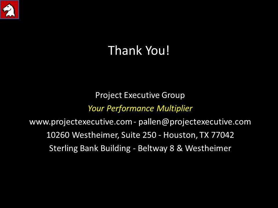 Thank You! Project Executive Group Your Performance Multiplier www.projectexecutive.com - pallen@projectexecutive.com 10260 Westheimer, Suite 250 - Ho