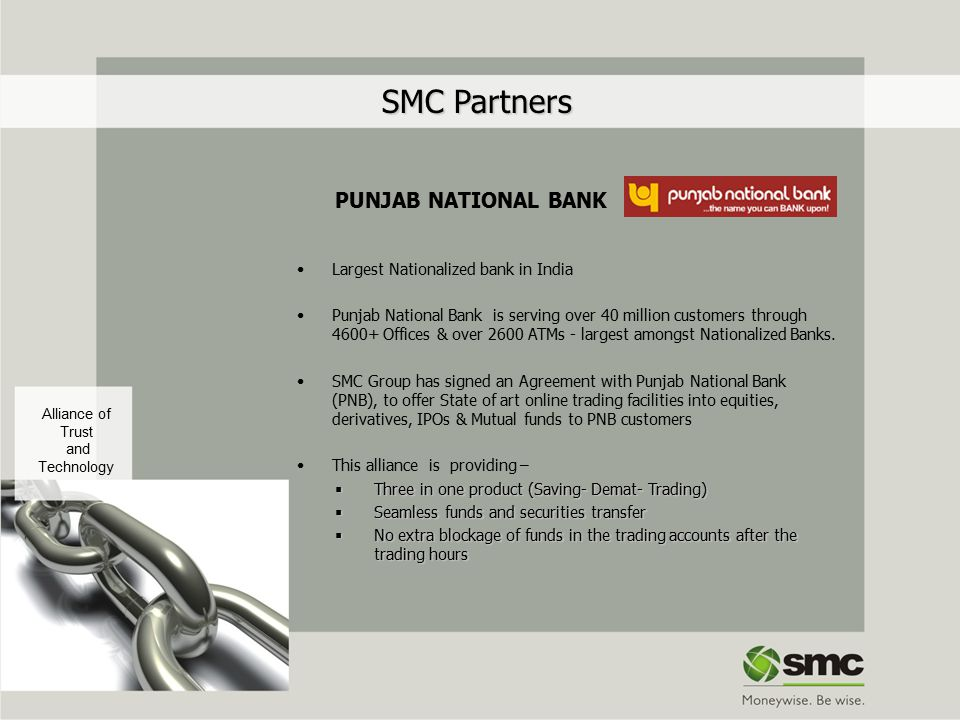 SMC Partners PUNJAB NATIONAL BANK Largest Nationalized bank in India Punjab National Bank is serving over 40 million customers through 4600+ Offices &