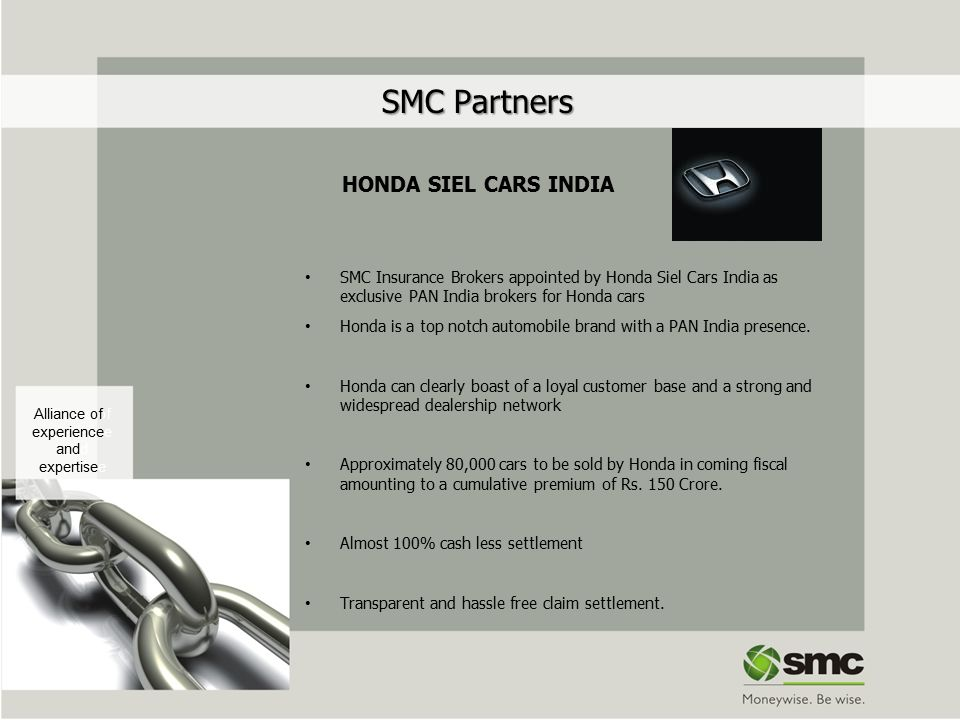 SMC Partners SMC Partners HONDA SIEL CARS INDIA SMC Insurance Brokers appointed by Honda Siel Cars India as exclusive PAN India brokers for Honda cars Honda is a top notch automobile brand with a PAN India presence.