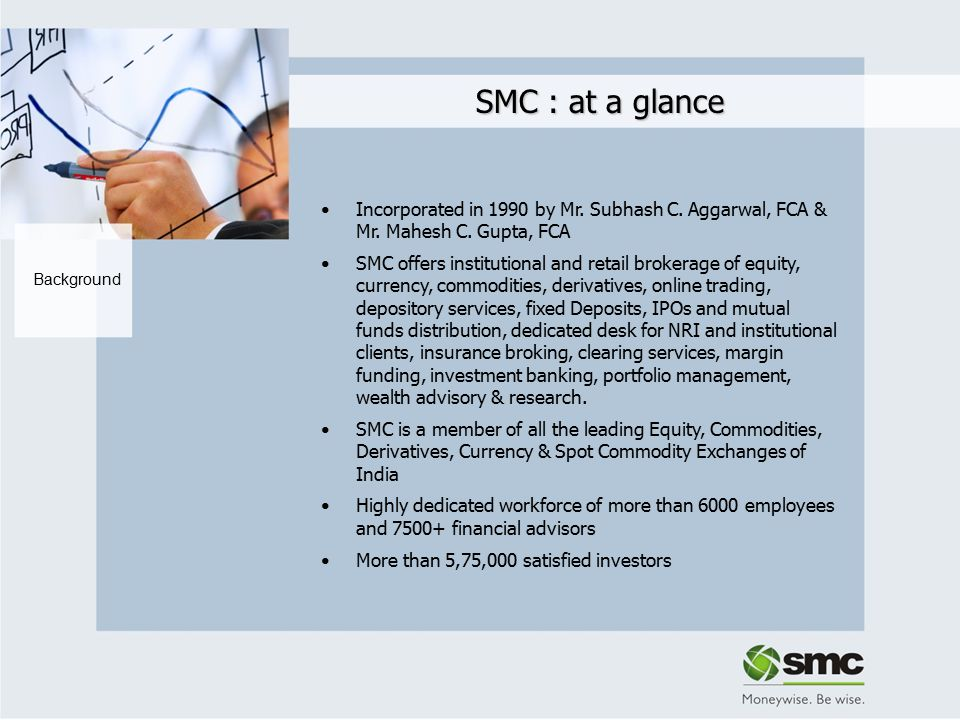 SMC : at a glance Clientele & Infrastructure More than 2100 offices spread across 425+ cities in India Headquartered in Delhi with regional offices at Mumbai, Kolkata, Chennai, Hyderabad, Bangalore, Cochin, Jaipur, Ahmedabad & overseas office at Dubai Dedicated Proprietary Arbitrage Desk with more than 350 Arbitragers Handles over 3,50,000 trades per day In-house Research magazines Wise Money (weekly) and Wise Fund Focus (monthly)‏