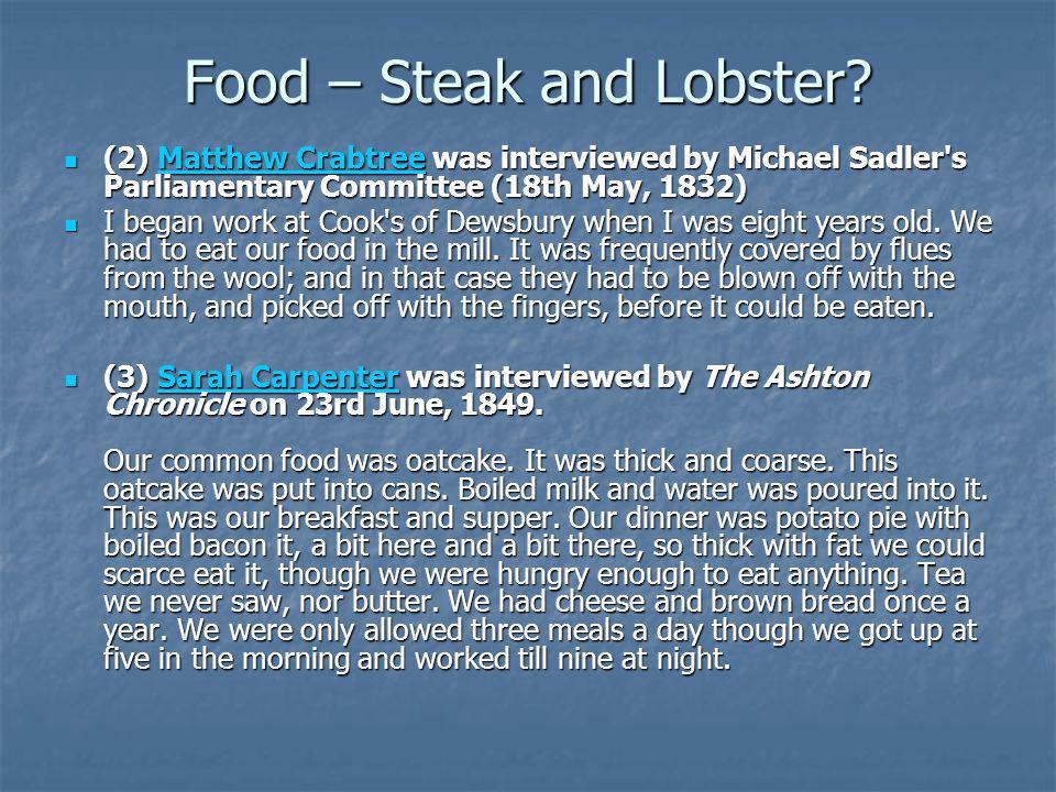 Food – Steak and Lobster.