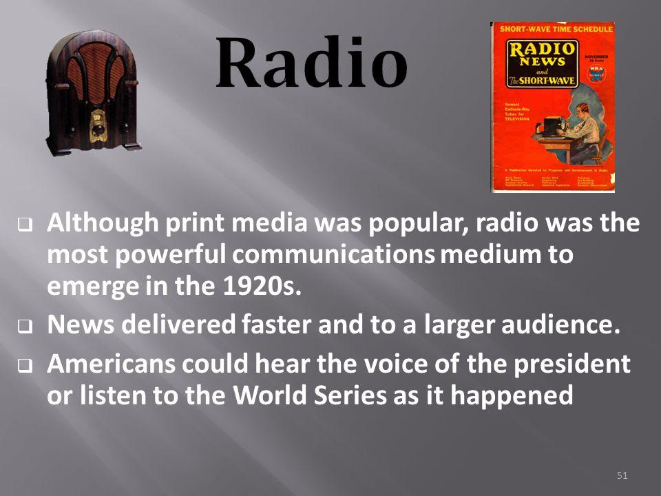 50  KDKA (Pittsburgh) the FIRST radio broadcast