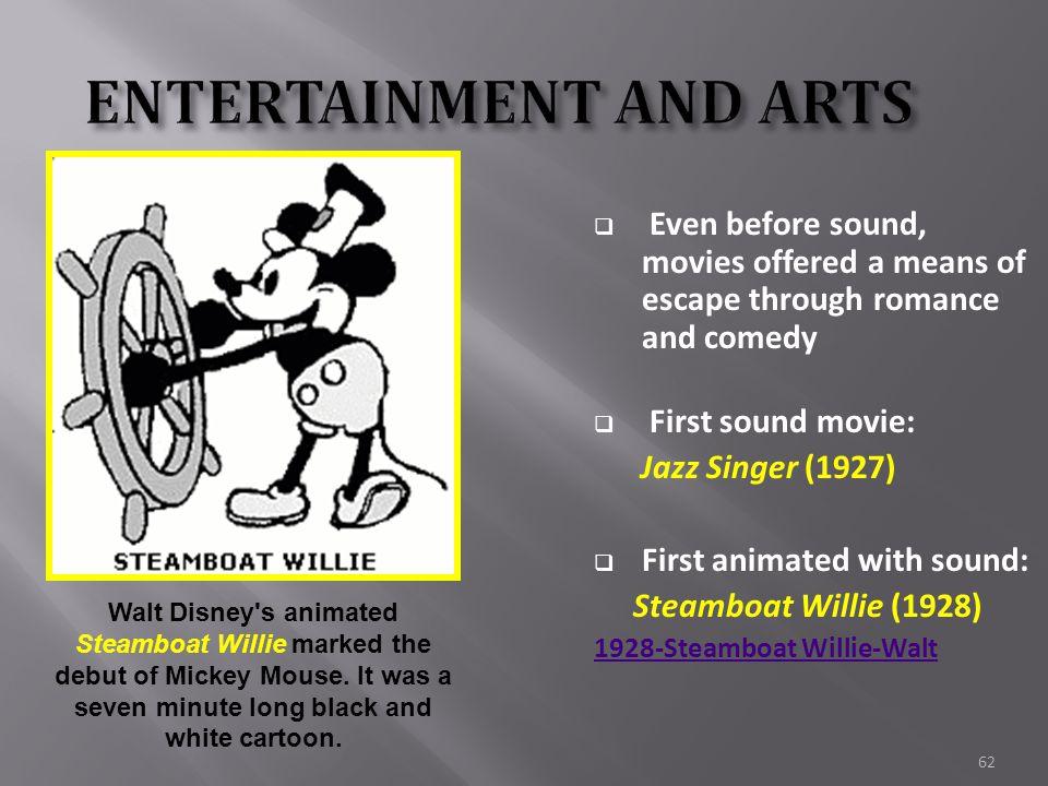 61  Before 1927 movies were silent until… Al Jolson stars in The Jazz Singer… 1 st film w/sound
