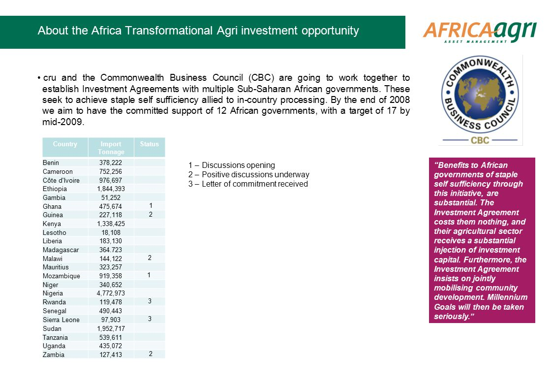 About the Africa Transformational Agri investment opportunity cru and the Commonwealth Business Council (CBC) are going to work together to establish Investment Agreements with multiple Sub-Saharan African governments.