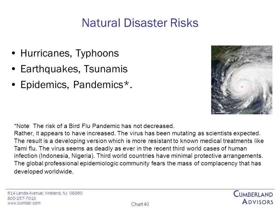 614 Landis Avenue, Vineland, NJ 08360 800-257-7013 www.cumber.com Chart 40 Natural Disaster Risks Hurricanes, Typhoons Earthquakes, Tsunamis Epidemics, Pandemics*.