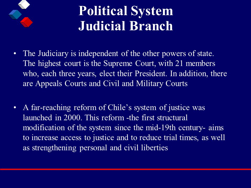 Political System Judicial Branch The Judiciary is independent of the other powers of state. The highest court is the Supreme Court, with 21 members wh