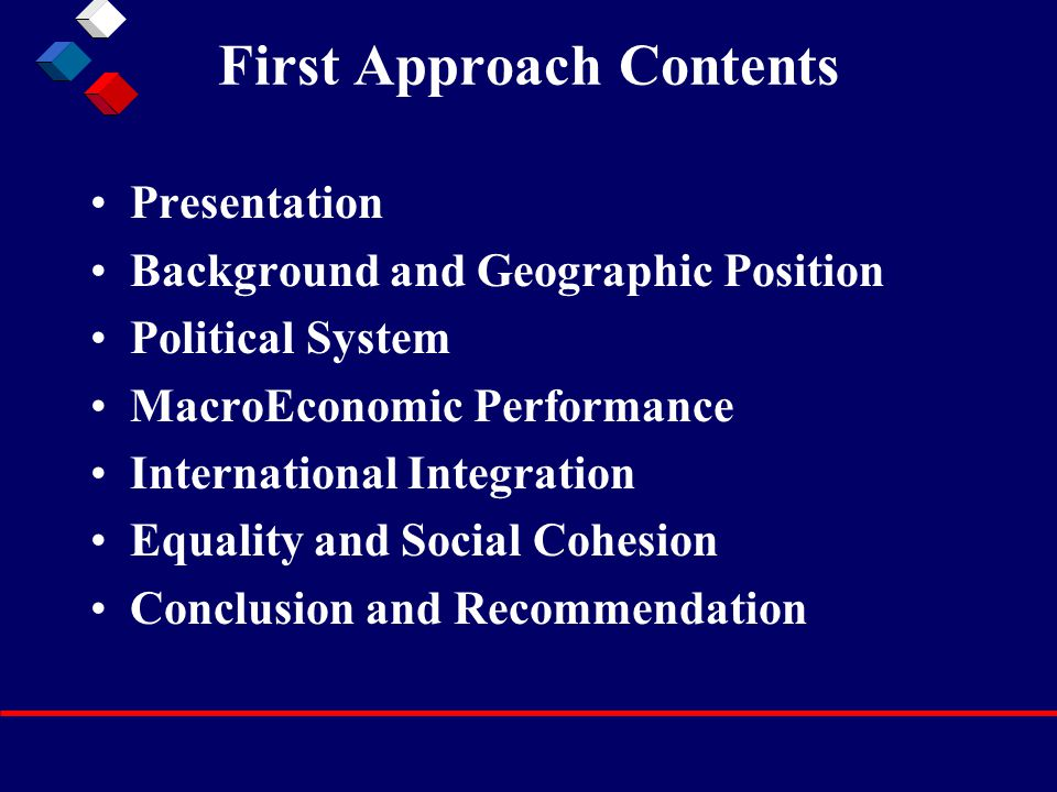First Approach Contents Presentation Background and Geographic Position Political System MacroEconomic Performance International Integration Equality