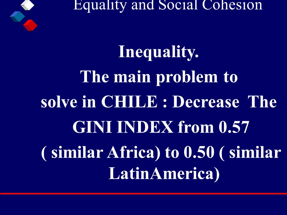 Equality and Social Cohesion Inequality. The main problem to solve in CHILE : Decrease The GINI INDEX from 0.57 ( similar Africa) to 0.50 ( similar La