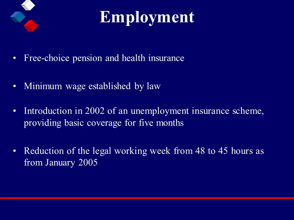 Employment Free-choice pension and health insurance Minimum wage established by law Introduction in 2002 of an unemployment insurance scheme, providing basic coverage for five months Reduction of the legal working week from 48 to 45 hours as from January 2005