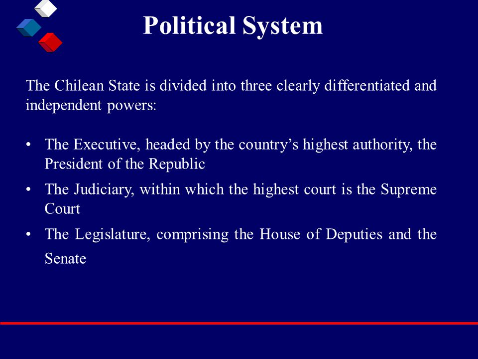 Political System The Executive, headed by the country's highest authority, the President of the Republic The Judiciary, within which the highest court