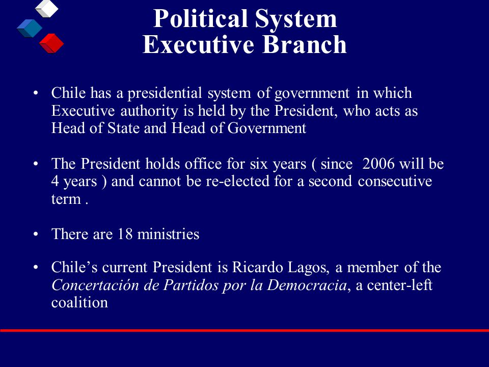 Political System Executive Branch Chile has a presidential system of government in which Executive authority is held by the President, who acts as Head of State and Head of Government The President holds office for six years ( since 2006 will be 4 years ) and cannot be re-elected for a second consecutive term.