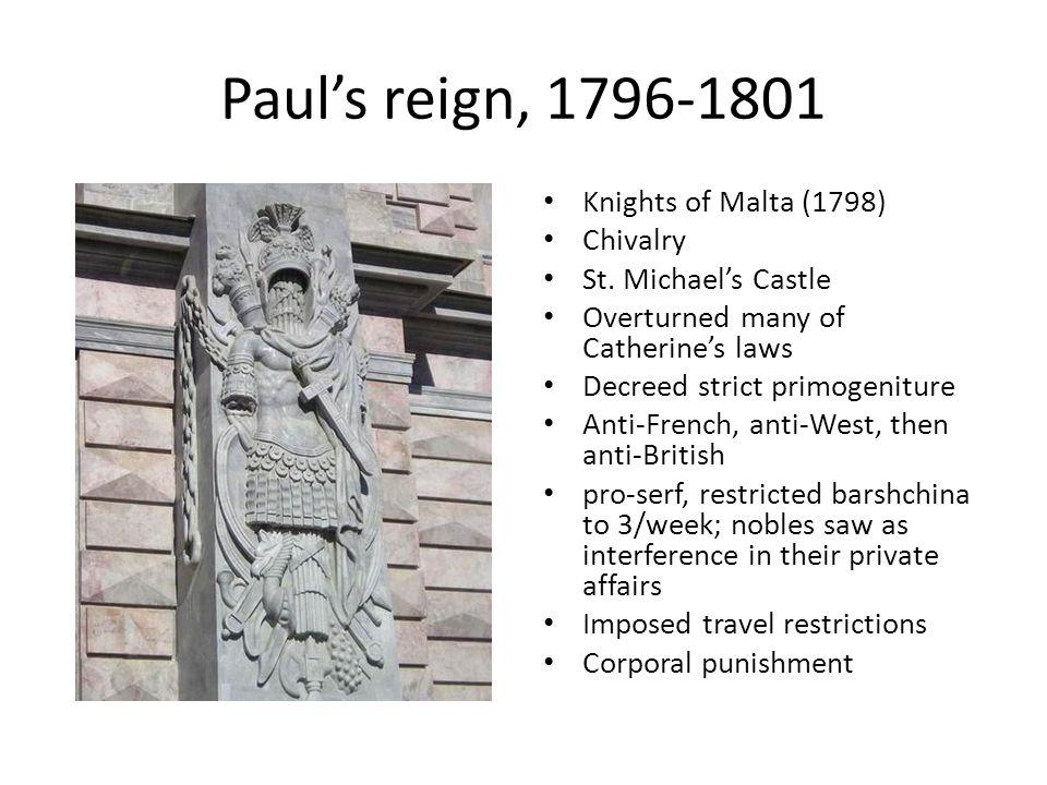 Paul's reign, 1796-1801 Knights of Malta (1798) Chivalry St.