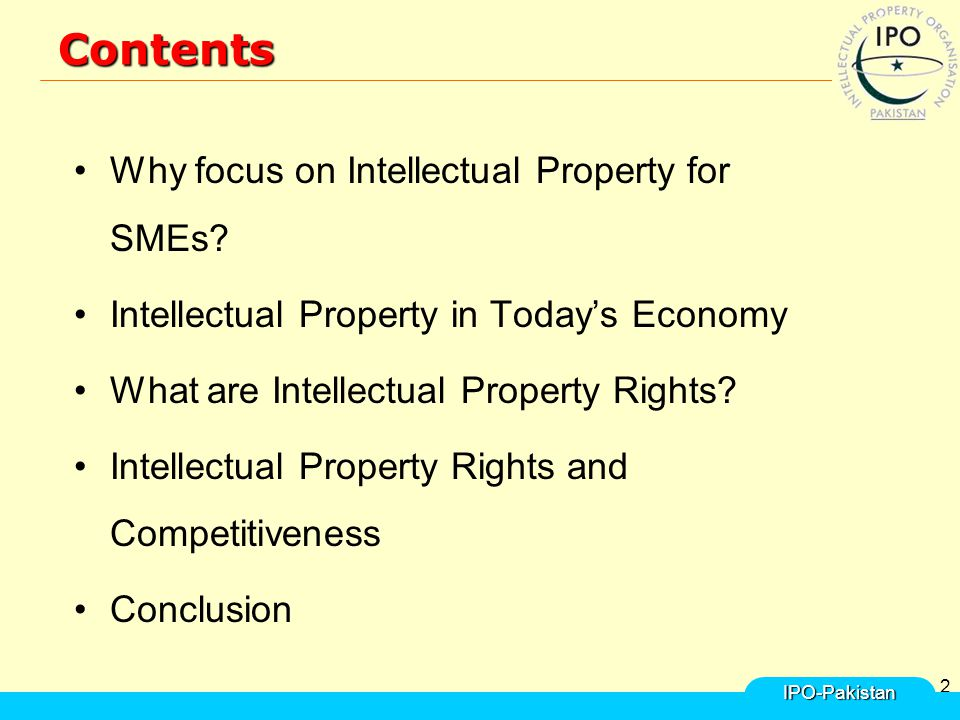 2Contents Why focus on Intellectual Property for SMEs.