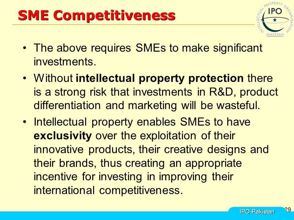 29 SME Competitiveness The above requires SMEs to make significant investments.