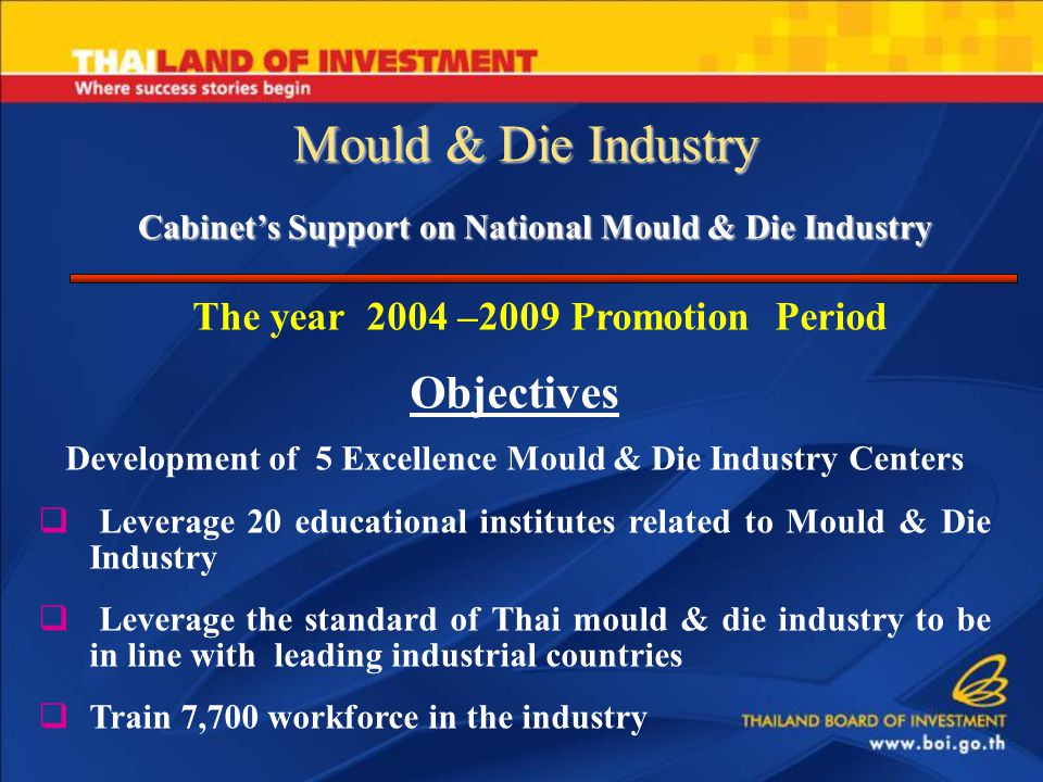 Mould & Die Industry Cabinet's Support on National Mould & Die Industry The year 2004 –2009 Promotion Period Objectives Development of 5 Excellence Mould & Die Industry Centers  Leverage 20 educational institutes related to Mould & Die Industry  Leverage the standard of Thai mould & die industry to be in line with leading industrial countries  Train 7,700 workforce in the industry