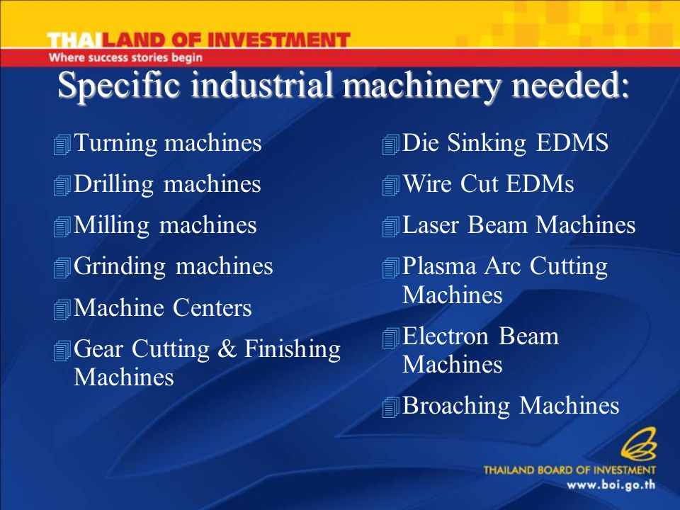 Specific industrial machinery needed: 4 Turning machines 4 Drilling machines 4 Milling machines 4 Grinding machines 4 Machine Centers 4 Gear Cutting & Finishing Machines 4 Die Sinking EDMS 4 Wire Cut EDMs 4 Laser Beam Machines 4 Plasma Arc Cutting Machines 4 Electron Beam Machines 4 Broaching Machines