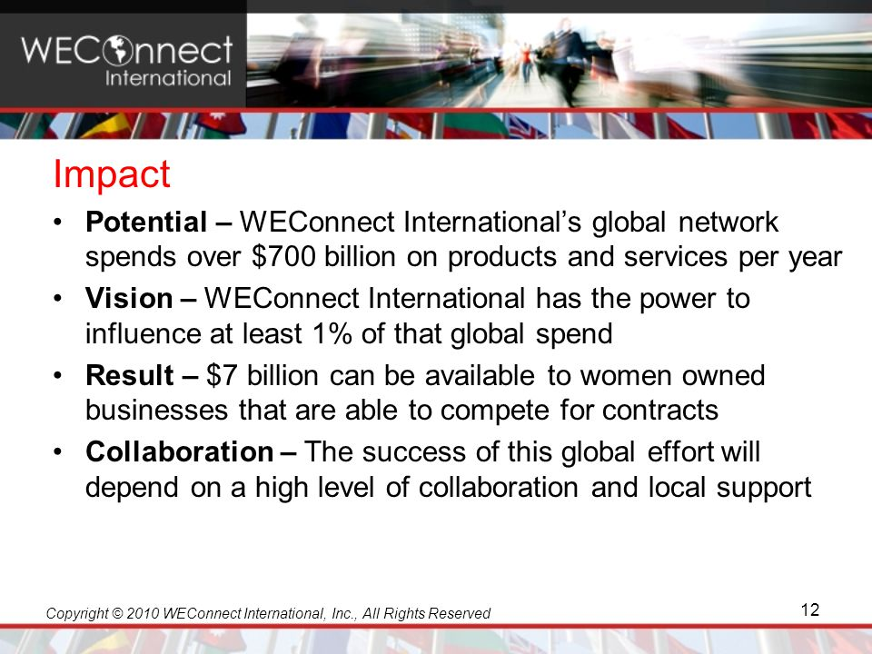 Copyright © 2010 WEConnect International, Inc., All Rights Reserved Impact Potential – WEConnect International's global network spends over $700 billi