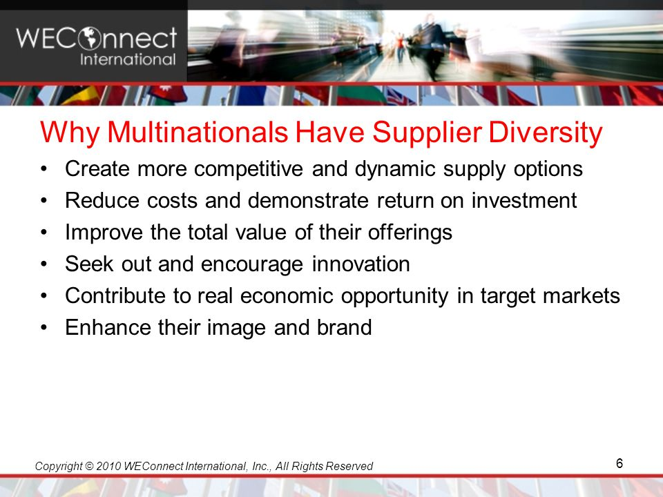 Copyright © 2010 WEConnect International, Inc., All Rights Reserved Why Multinationals Have Supplier Diversity Create more competitive and dynamic sup