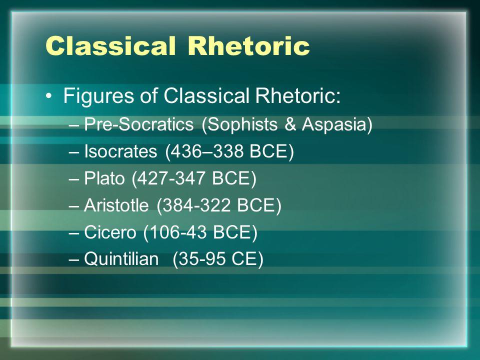 Classical Rhetoric Figures of Classical Rhetoric: –Pre-Socratics (Sophists & Aspasia) –Isocrates (436–338 BCE) –Plato (427-347 BCE) –Aristotle (384-322 BCE) –Cicero (106-43 BCE) –Quintilian (35-95 CE)