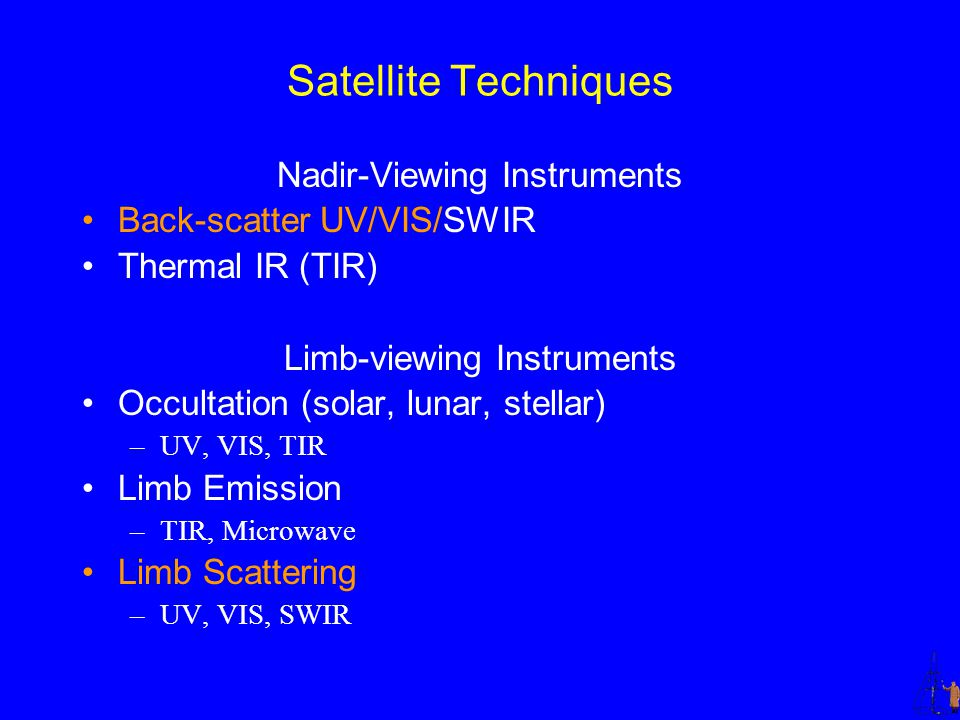 Satellite Techniques Nadir-Viewing Instruments Back-scatter UV/VIS/SWIR Thermal IR (TIR) Limb-viewing Instruments Occultation (solar, lunar, stellar) –UV, VIS, TIR Limb Emission –TIR, Microwave Limb Scattering –UV, VIS, SWIR