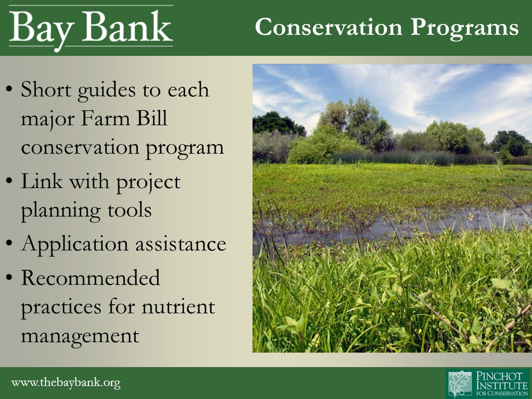 www.thebaybank.org Short guides to each major Farm Bill conservation program Link with project planning tools Application assistance Recommended practices for nutrient management Conservation Programs