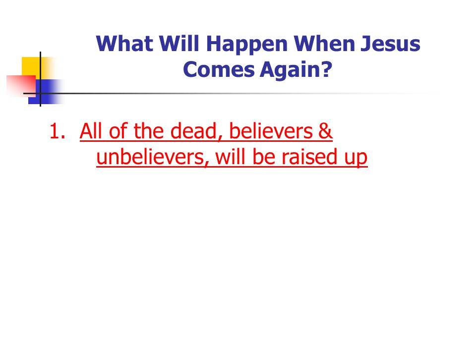 What Will Happen When Jesus Comes Again. 1.