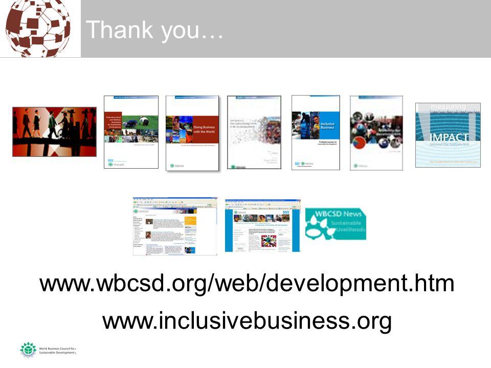 Thank you… www.wbcsd.org/web/development.htm www.inclusivebusiness.org