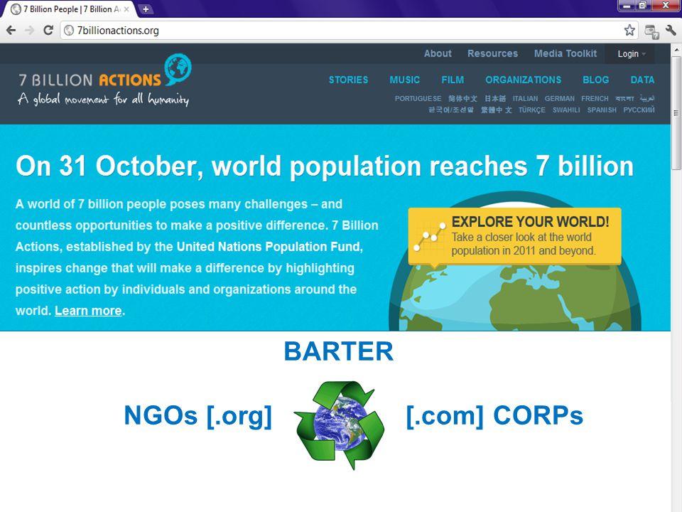 BARTER NGOs [.org] [.com] CORPs
