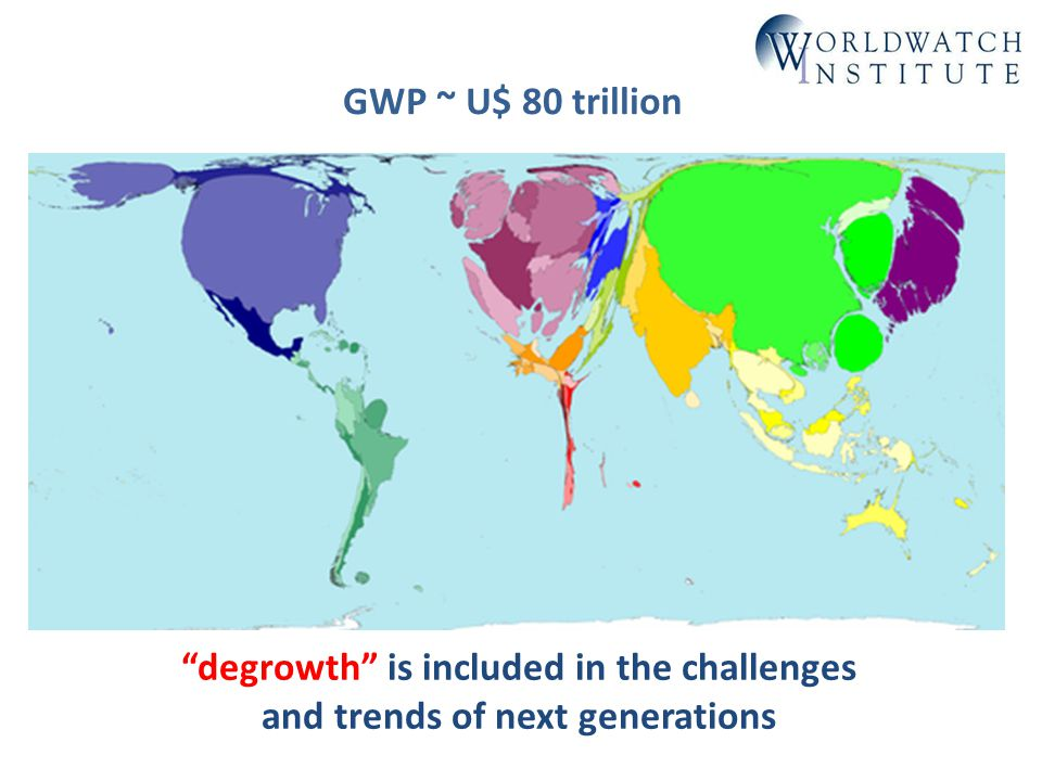 degrowth is included in the challenges and trends of next generations GWP ~ U$ 80 trillion