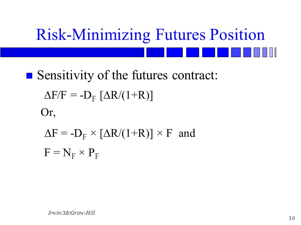 Irwin/McGraw-Hill 10 Risk-Minimizing Futures Position n Sensitivity of the futures contract:   F/F = -D F [  R/(1+R)] Or,   F = -D F × [  R/(1+R)] × F and F = N F × P F