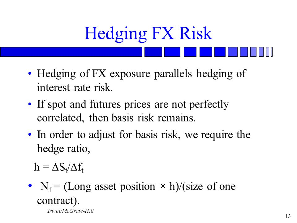 Irwin/McGraw-Hill 13 Hedging FX Risk Hedging of FX exposure parallels hedging of interest rate risk.