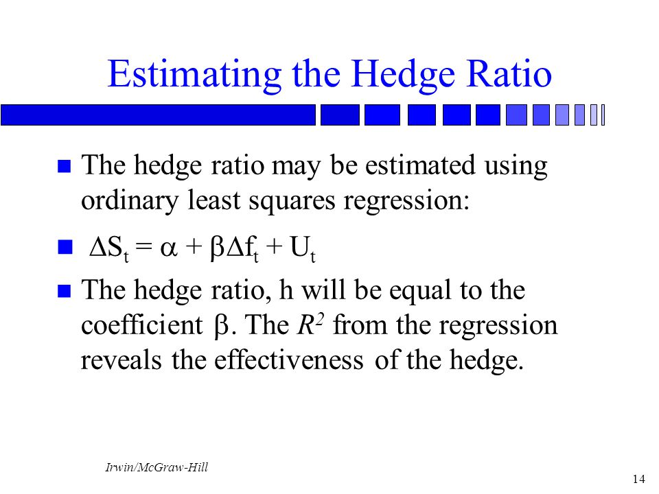 Irwin/McGraw-Hill 14 Estimating the Hedge Ratio n The hedge ratio may be estimated using ordinary least squares regression:  S t =  +  f t + U t The hedge ratio, h will be equal to the coefficient .