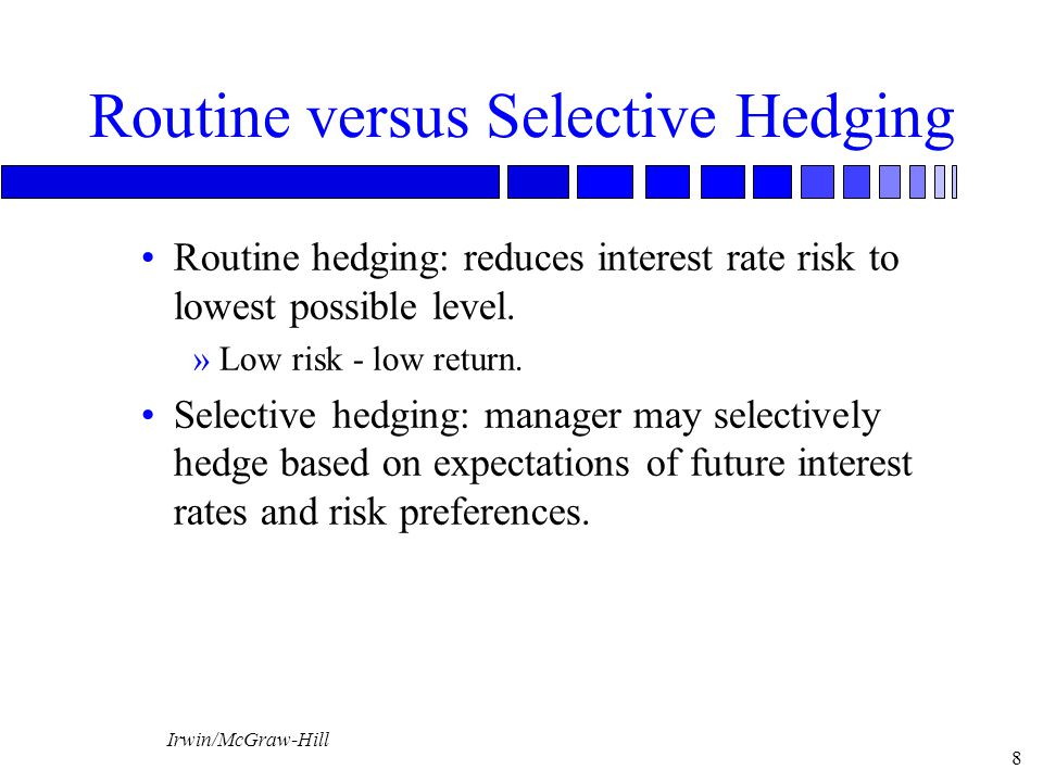 Irwin/McGraw-Hill 19 Regulatory Policy n Require a bank to Establish internal guidelines regarding hedging.
