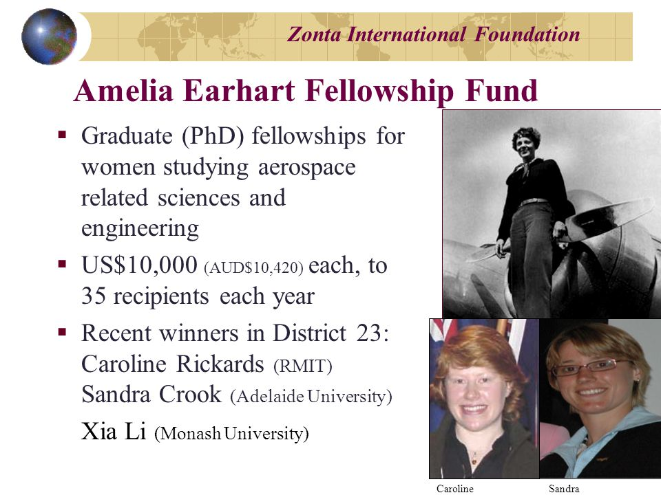Zonta International Foundation  Graduate (PhD) fellowships for women studying aerospace related sciences and engineering  US$10,000 (AUD$10,420) each, to 35 recipients each year  Recent winners in District 23: Caroline Rickards (RMIT) Sandra Crook (Adelaide University) Xia Li (Monash University) Amelia Earhart Fellowship Fund Caroline Sandra