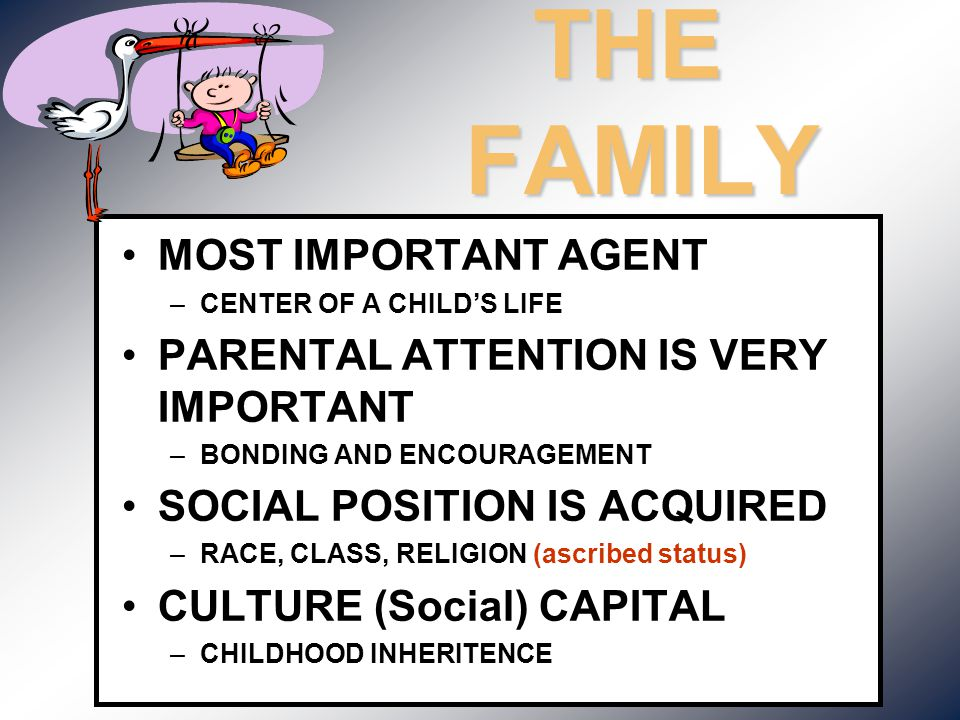 THE FAMILY MOST IMPORTANT AGENT –CENTER OF A CHILD'S LIFE PARENTAL ATTENTION IS VERY IMPORTANT –BONDING AND ENCOURAGEMENT SOCIAL POSITION IS ACQUIRED