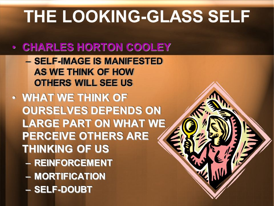 THE LOOKING-GLASS SELF CHARLES HORTON COOLEYCHARLES HORTON COOLEY –SELF-IMAGE IS MANIFESTED AS WE THINK OF HOW OTHERS WILL SEE US WHAT WE THINK OF OUR