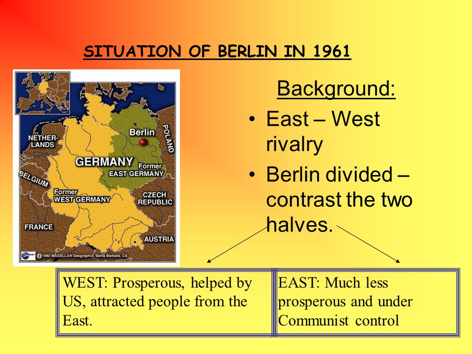 SITUATION OF BERLIN IN 1961 Background: East – West rivalry Berlin divided – contrast the two halves.