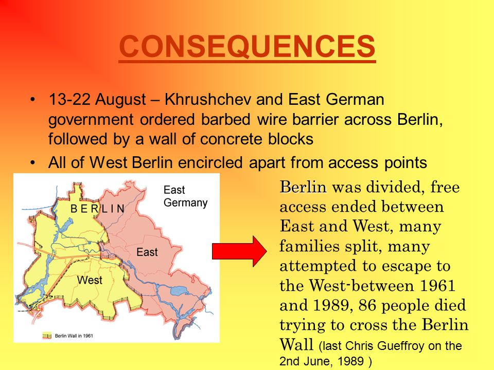 CONSEQUENCES 13-22 August – Khrushchev and East German government ordered barbed wire barrier across Berlin, followed by a wall of concrete blocks All of West Berlin encircled apart from access points Berlin Berlin was divided, free access ended between East and West, many families split, many attempted to escape to the West-between 1961 and 1989, 86 people died trying to cross the Berlin Wall (last Chris Gueffroy on the 2nd June, 1989 )