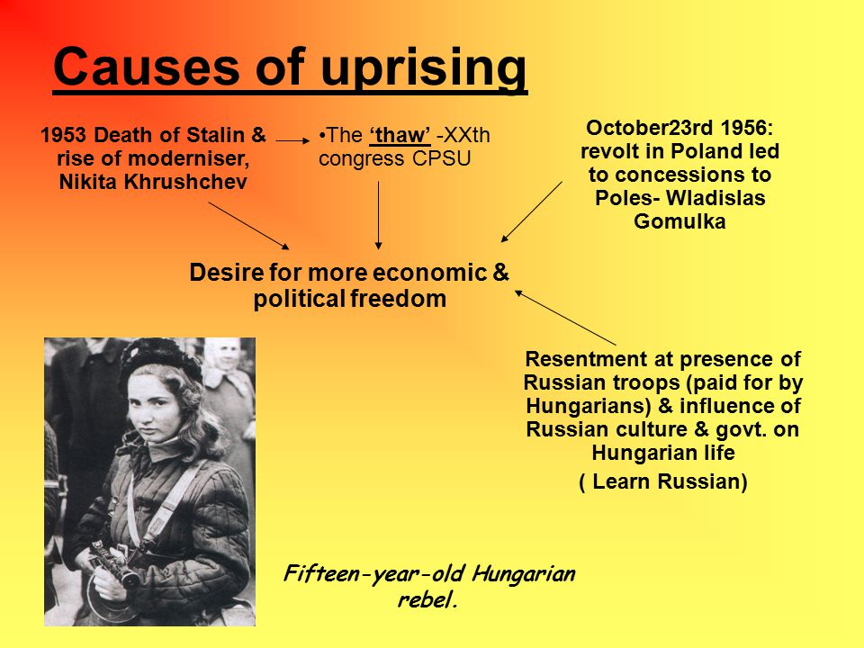 Causes of uprising 1953 Death of Stalin & rise of moderniser, Nikita Khrushchev The 'thaw' -XXth congress CPSU October23rd 1956: revolt in Poland led to concessions to Poles- Wladislas Gomulka Desire for more economic & political freedom Resentment at presence of Russian troops (paid for by Hungarians) & influence of Russian culture & govt.