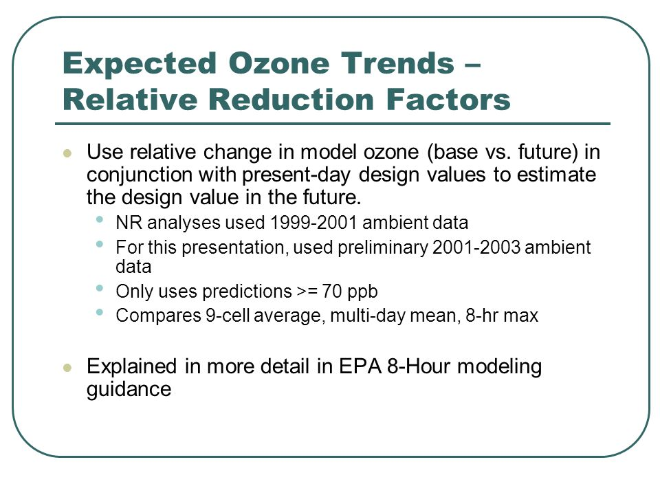Expected Ozone Trends – Relative Reduction Factors Use relative change in model ozone (base vs.