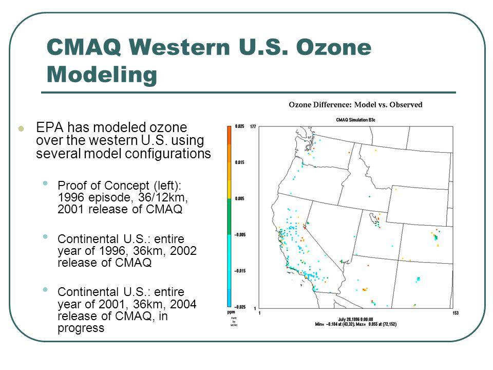 CMAQ Western U.S. Ozone Modeling EPA has modeled ozone over the western U.S.