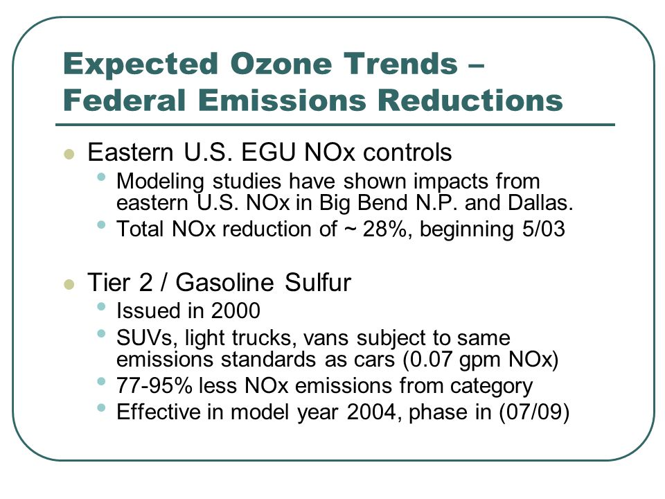 Expected Ozone Trends – Federal Emissions Reductions Eastern U.S.