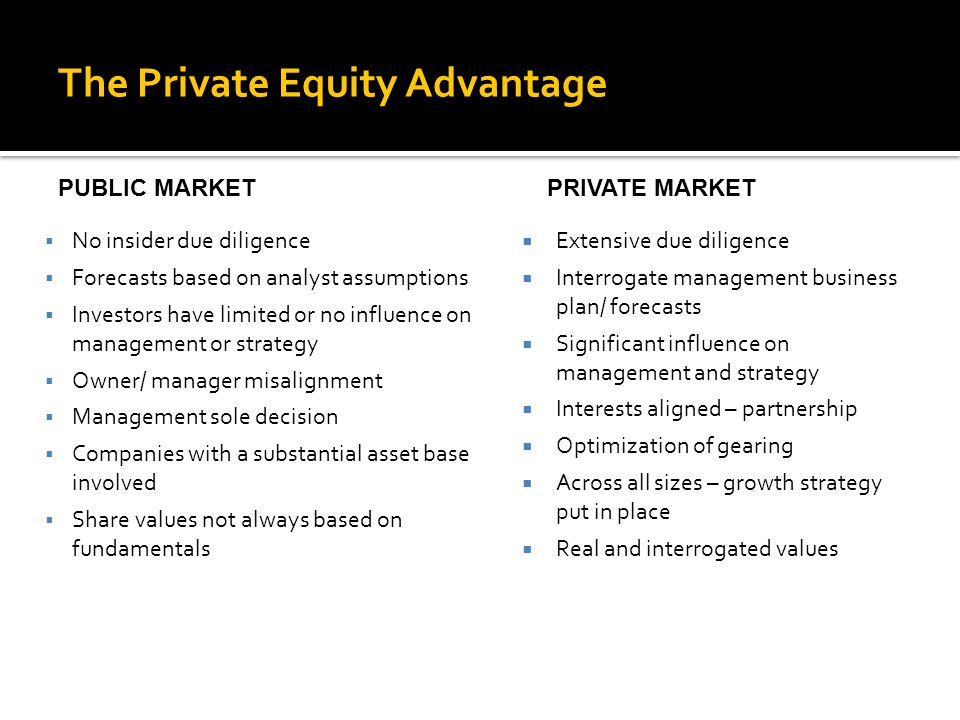  Extensive due diligence  Interrogate management business plan/ forecasts  Significant influence on management and strategy  Interests aligned – partnership  Optimization of gearing  Across all sizes – growth strategy put in place  Real and interrogated values The Private Equity Advantage  No insider due diligence  Forecasts based on analyst assumptions  Investors have limited or no influence on management or strategy  Owner/ manager misalignment  Management sole decision  Companies with a substantial asset base involved  Share values not always based on fundamentals PUBLIC MARKETPRIVATE MARKET
