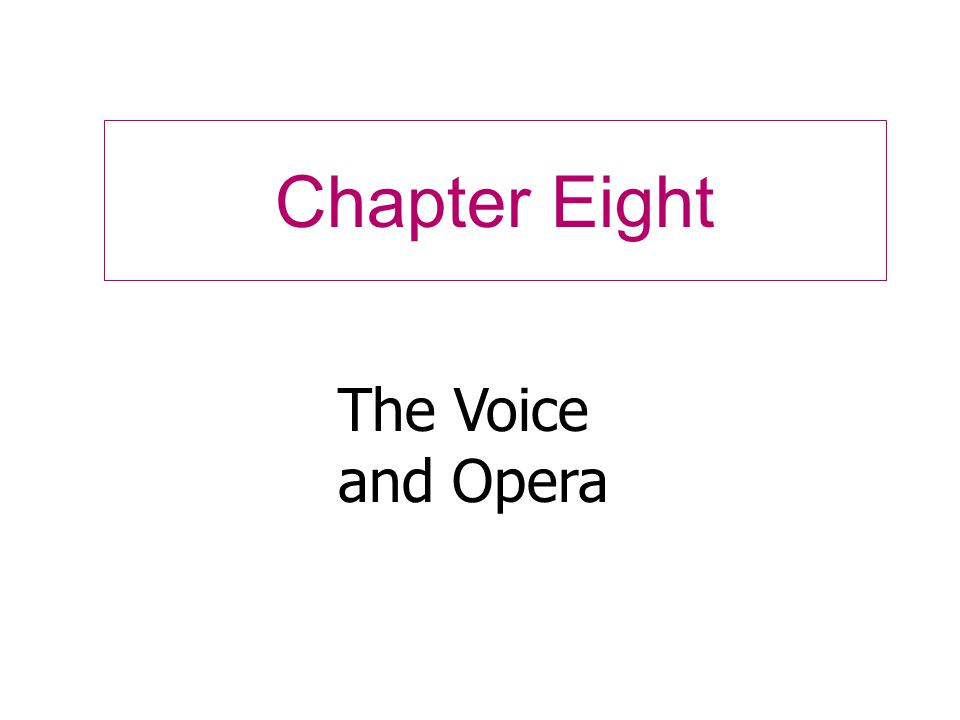 Chapter Eight The Voice and Opera