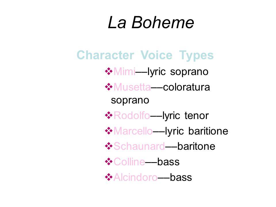 Character Voice Types vMimi––lyric soprano vMusetta––coloratura soprano vRodolfo––lyric tenor vMarcello––lyric baritione vSchaunard––baritone vColline––bass vAlcindoro––bass La Boheme