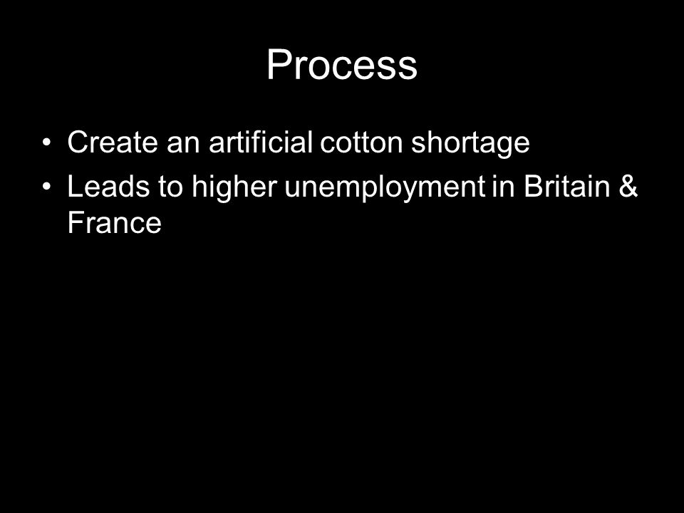 Process Create an artificial cotton shortage Leads to higher unemployment in Britain & France