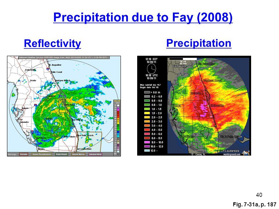Fig. 7-31a, p. 187 40 Reflectivity Precipitation Precipitation due to Fay (2008)